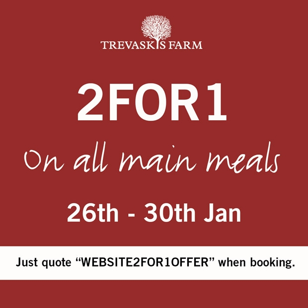 2 for 1 on Main Meals